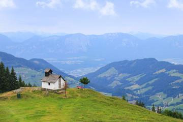 Holiday destination Wildschönau - Niederau, on the mountain Markbachjoch with chapel in summer, Tyrol - Austria