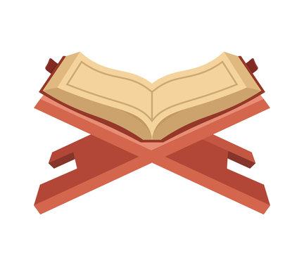 Open Koran flat vector illustration