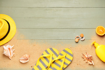 Composition with beach accessories on wooden background Wall mural