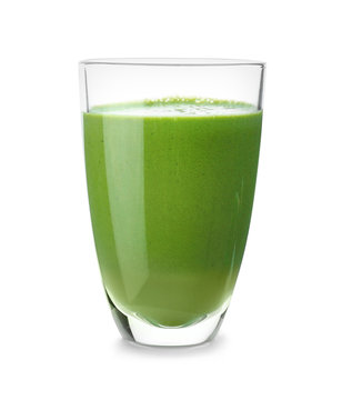 Glass of healthy smoothie on white background
