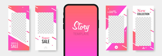 Trendy editable template sale banner for social networks stories. Design backgrounds for social media, landing page, website, mobile app, poster, flyer, coupon, gift card, web design