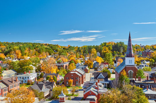 Montpelier town skyline at autumn in Vermont, USA