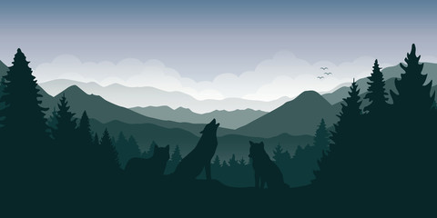 wolf pack in the green forest with mountain landscape vector illustration EPS10