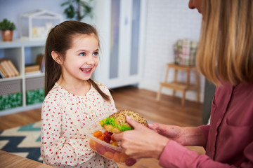 Young mum giving her daughter the healthy sandwich