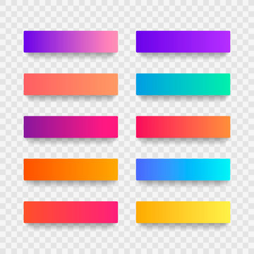Super set of button gradient style with shadow isolated on transparent background for website, ui, mobile app. Modern vector illustration design