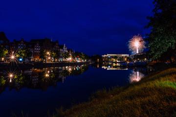 Feuerwerk an der Trave in Lübeck
