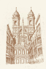 Wall Mural - vector sketch of the church of Santissima Trinita dei Monti, Rome, Italy.The Spanish Steps in Rome.