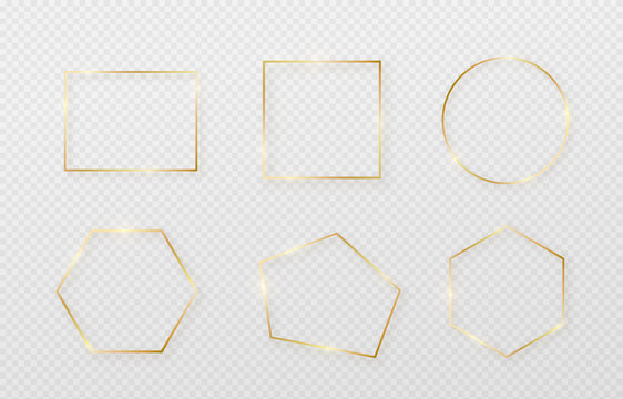 Golden border frame set with light shadow and light affects. Gold decoration in minimal style. Graphic metal foil element in geometric thin line rectangle shape