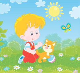 Fotobehang Vogels, bijen Smiling little boy playing with a small kitten among flowers on green grass of a lawn on a sunny summer day, vector illustration in a cartoon style
