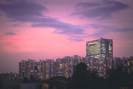 World trade center in Bangalore, Karnataka, India during a beautiful sunset in Monsoons.