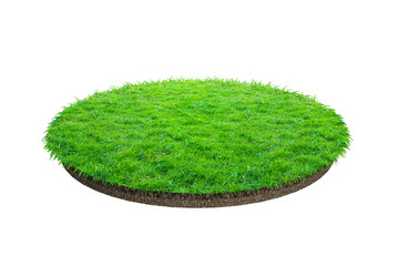 Abstract green grass texture for background. Circle green grass pattern isolated on a white background.