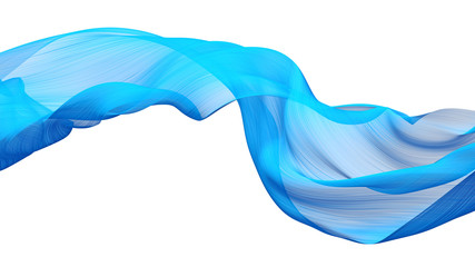 Sky-blue fabric flow cloth wave, Waving Silk Flying Textile, 3d rendering Wall mural