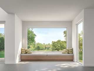 Modern living room with garden view  3d render,There are white wall,concrete tile floor,Decorate with wood and fabric seat,There are large windows looking to big garden.