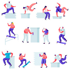 Set of Flat Teenagers Making Parkour Tricks Characters. Cartoon Young Men Jumping Over Walls and Barriers, Urban Culture, Active Lifestyle, Sport Outdoors. Vector Illustration.
