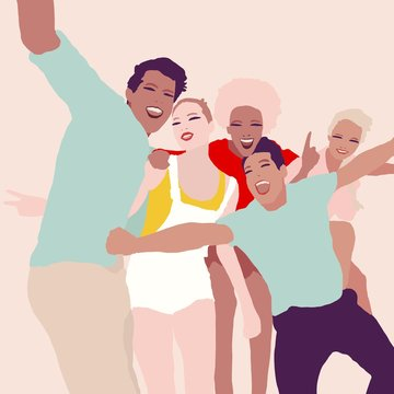 Illustration group of young people from different race partying and making selfie and having fun