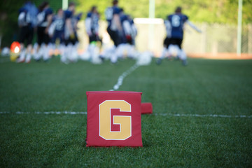 Photo of field for American football with letter g on blurred background with playing team