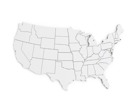 United States Of America Map 3d Render USA White