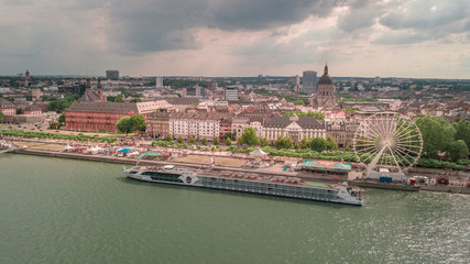 drone Aerial view of the City Mainz and  the River Rhine Germany