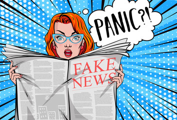 Pretty woman reading tabloid newspaper with anxious and scared face expression, fake news, panic, shocking stories, scaremongering. Vector illustration in pop art style.