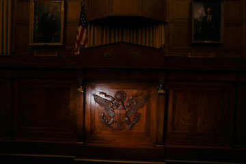 An eagle adorns the chairman's dais in the U.S. House Judiciary Committee hearing room on Capitol Hill in Washington