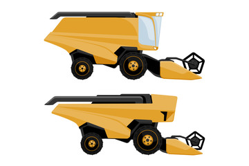Wall Mural - Set of combine harvester: with driver and autonomous. Vector illustration EPS 10