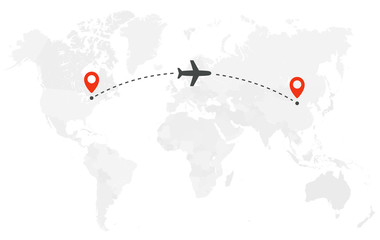 Airplane line path. Air plane flight route with start point and dash line trace. Plane icon over world map. Vector concept illustration. Fototapete