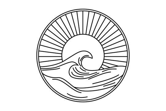 Vector seascape illustration, summer sea with big wave and sun, logo in a circle