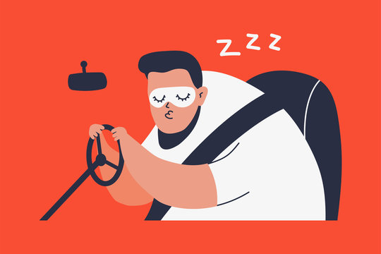 Sleeping man driving a car. Vector cartoon illustration isolated on background.