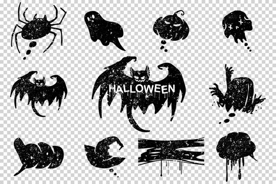 Halloween grunge speech bubbles vector black silhouette set isolated on transparent background.