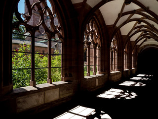 Shadows in Basel Minster, sunlight through the gothic windows
