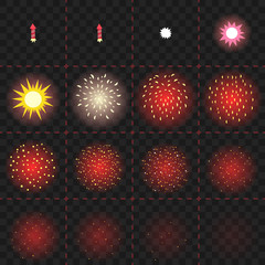 Animation of firework explosion. Cartoon vector sprites. Twelve isolated frames with stages of firework rocket exploding