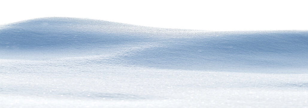 Snowy white clean snow texture. Snowdrift isolated on white background. Wide format.