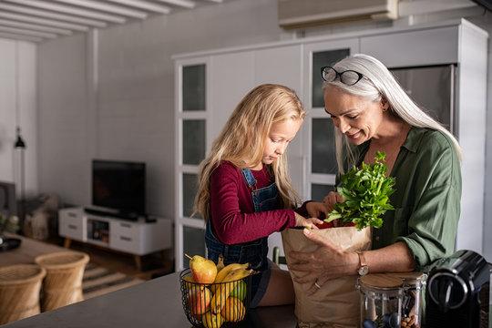 Grandma and girl holding grocery shopping bag