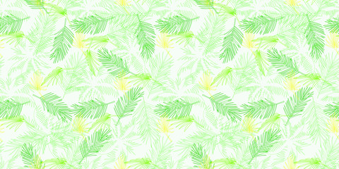 Beach cheerful seamless pattern wallpaper of tropical green and yellow leaves of palm trees on a light background - Vector