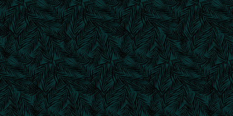 Seamless hand drawn exotic vector pattern with black palm leaves over dark turquoise background - Vector