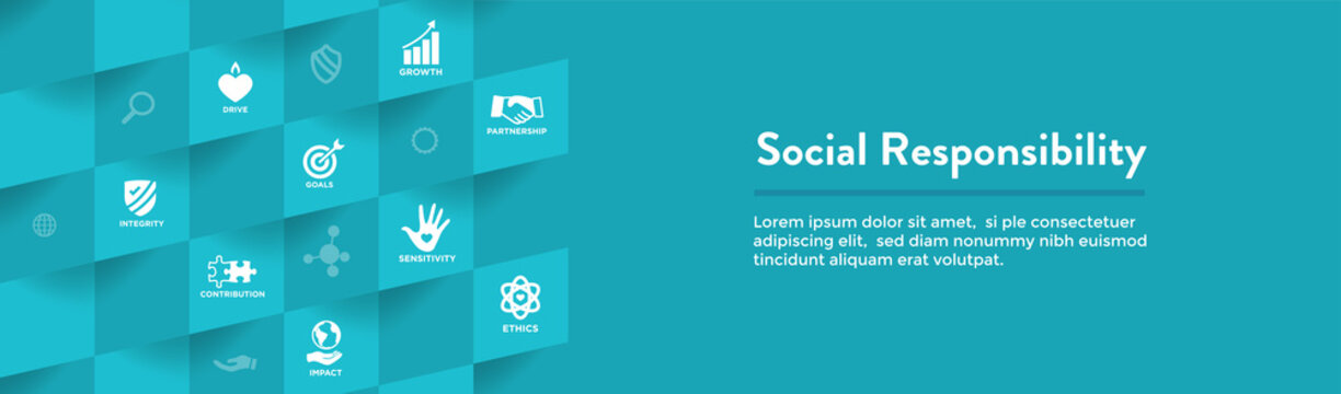 CSR-Corporate Social Responsibility Outline Icon Set - Web Header Banner
