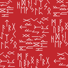 The runes of the older futarka in a seamless pattern. The Scandinavian ancient alphabet and magical miswar. Suitable for background and site design or maps