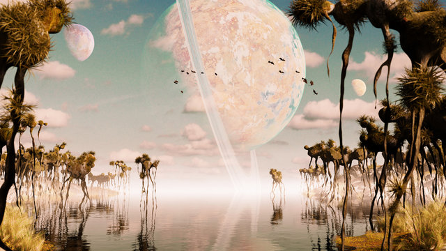 exoplanet landscape, alien world with strange plants and flying creatures