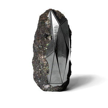 steel monolith embedded in rock, abstract shape, sci-fi object isolated on white ground