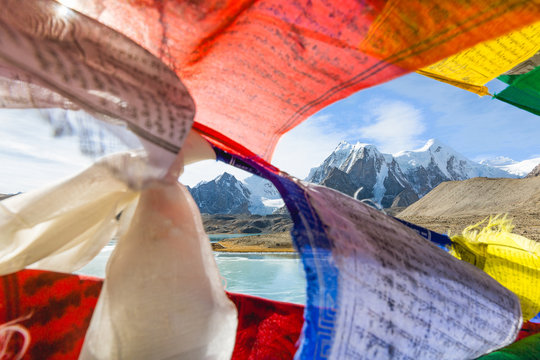 Gurudongmar Lake at North Sikkim,India is a beautiful breathtaking destination with it's near Mount Everest basecamp elevation of 17,800 feet. High altitude Himalayas. Serene North east Indian lake