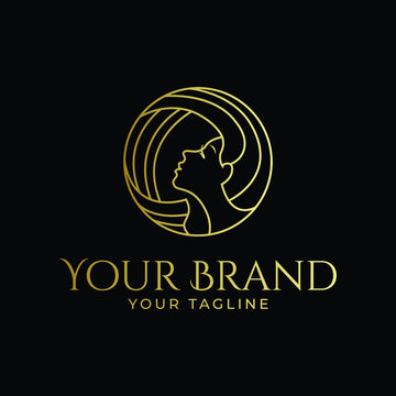 woman face and hair logo in circle monoline