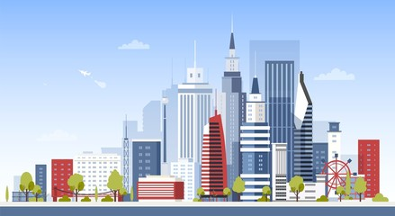 Fototapete - Cityscape with city downtown buildings. Panoramic view of modern business area with skyscrapers. Urban development, construction and architecture. Colorful vector illustration in flat cartoon style.