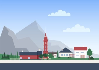 Fototapete - Urban landscape with town or village with private houses or residential buildings, chapel tower and trees. Cityscape with mountain settlement. Colorful vector illustration in flat cartoon style.