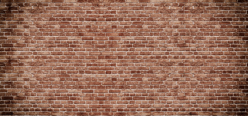 Fond de hotte en verre imprimé Graffiti Panoramic background of wide old red brick wall texture. Home or office design backdrop