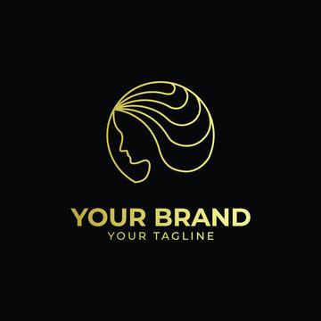 luxury monoline logo of waving hair in rounded shape