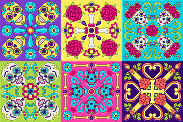Acrylic Prints Moroccan Tiles Day of the Dead mexican talavera ceramic tile pattern.