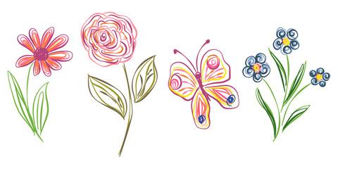 Pencil drawing. Floral set for your design. Vector illustration.