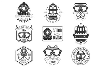 Scuba Diving Underwater Adventure Club Black And White Sign Design Templates With Text And Tools Silhouettes