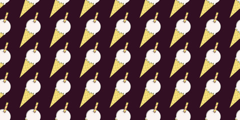 Cartoon cute chocolate brown vector ice cream seamless pattern. Surface pattern design for background, fabric or paper