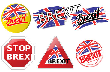 Six brexit buttons in different graphic designs